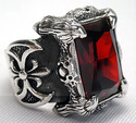 Garnet Dragon Claw Gothic Ring