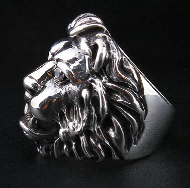 Diamond Lion Biker Ring