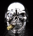 Golden Cigar Skull Ring