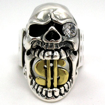Buckbiter Craps Diamond Skull Ring