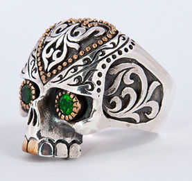 Tribal Maya Skull Ring - Click Image to Close