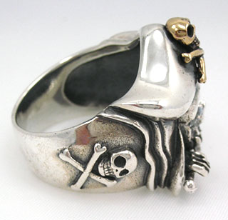 Pirate Jack Sparrow Biker Skull Ring