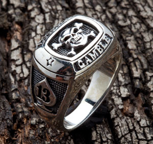Lucky 13 Gambler Skull Ring - Click Image to Close
