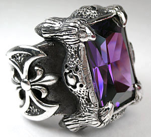 Dragon Claw Amethyst Ring - Click Image to Close