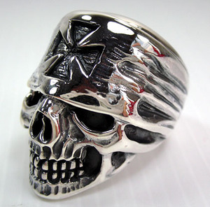 Pirate Bandana Iron Cross Skull Ring