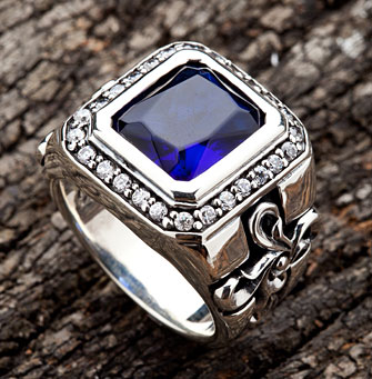 Elegant Cross Sapphire Ring - Click Image to Close