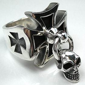 Iron Cross Skull Ring - Click Image to Close