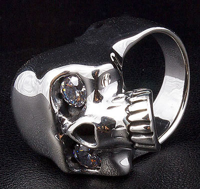 Futuristic Diamond Eyes Skull Ring