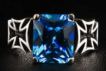 Iron Cross Sapphire Ring - Click Image to Close